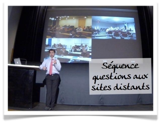 Retour vidéo avec les trois salles distantes : créer de l'interaction